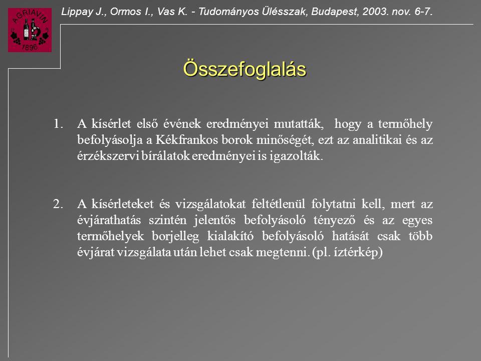 Lippay J. , Ormos I. , Vas K. - Tudományos Ülésszak, Budapest, 2003