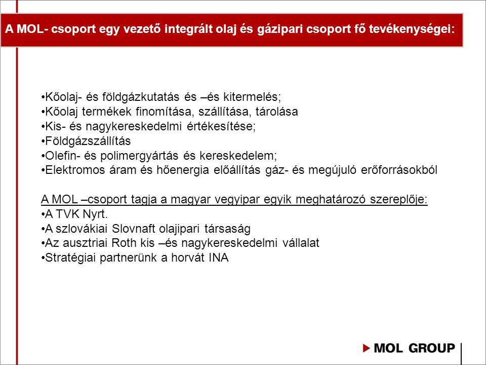 A MOL- csoport egy vezető integrált olaj és gázipari csoport fő tevékenységei: