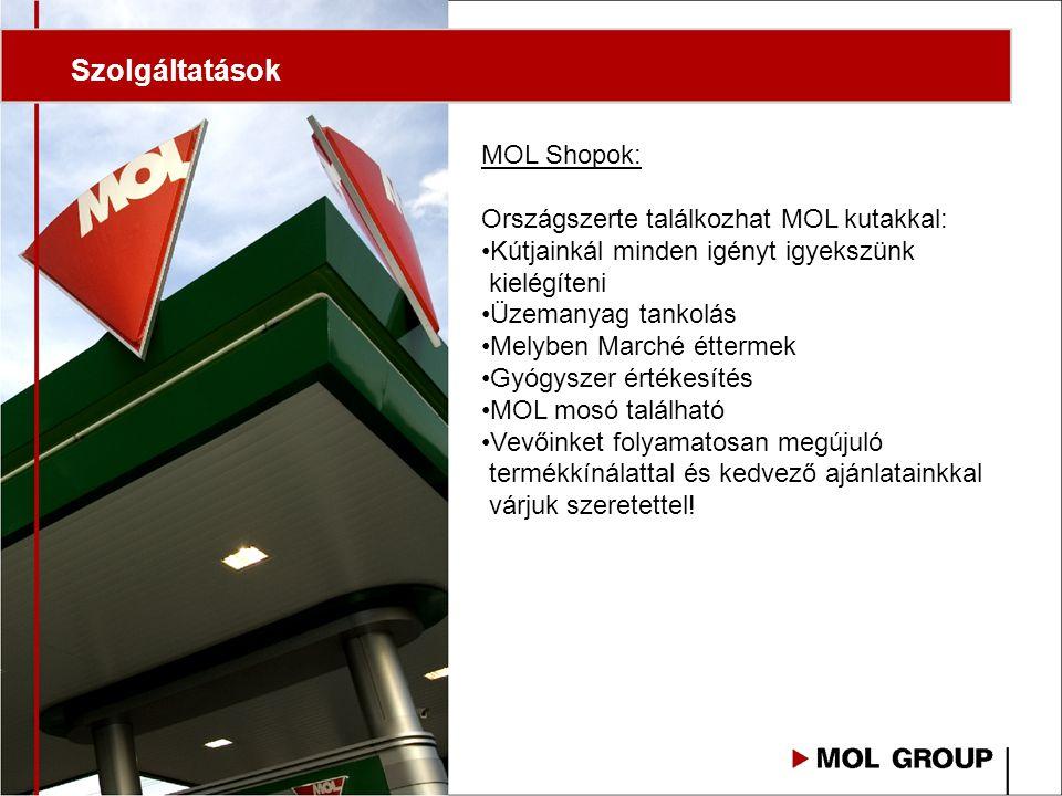 Szolgáltatások MOL Shopok: Országszerte találkozhat MOL kutakkal: