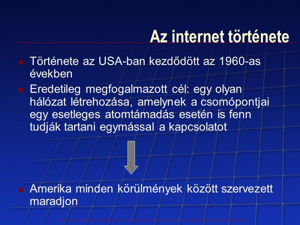 Az internet története Története az USA-ban kezdődött az 1960-as években.