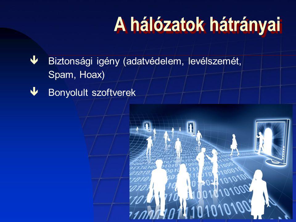 A hálózatok hátrányai Biztonsági igény (adatvédelem, levélszemét, Spam, Hoax) Bonyolult szoftverek