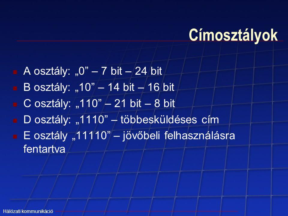 """Címosztályok A osztály: """"0 – 7 bit – 24 bit"""