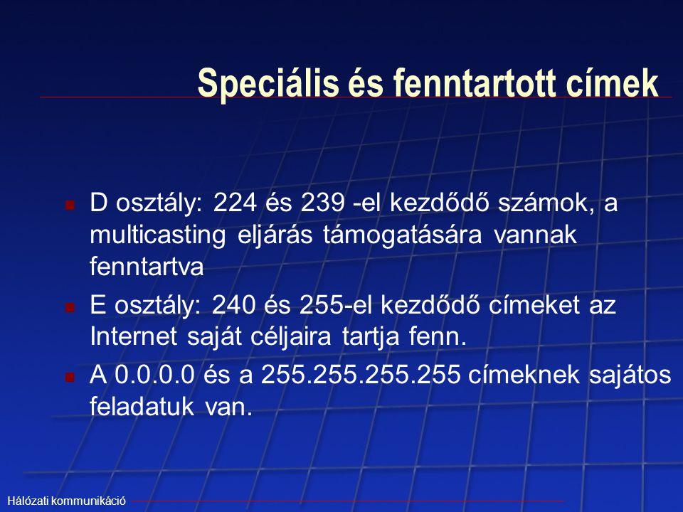 Speciális és fenntartott címek
