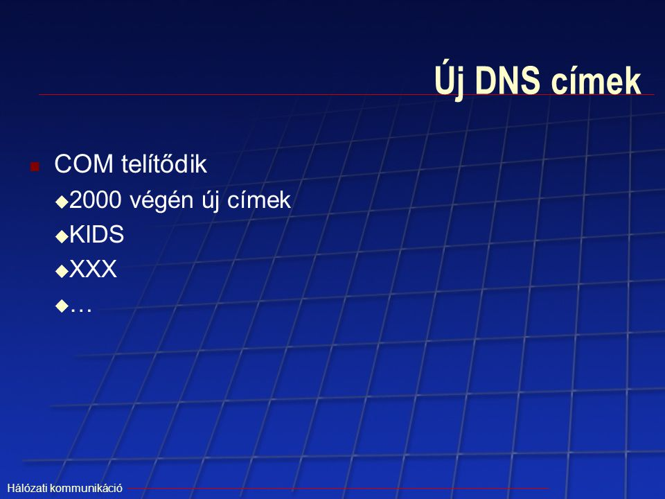 Új DNS címek COM telítődik 2000 végén új címek KIDS XXX …