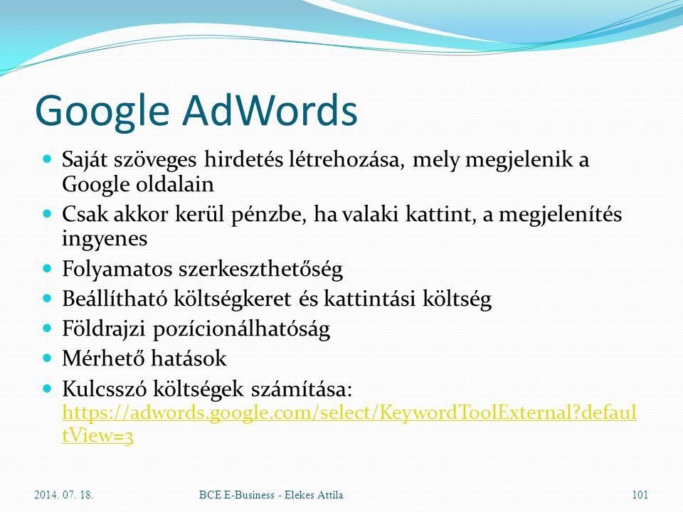 Google AdWords Saját szöveges hirdetés létrehozása, mely megjelenik a Google oldalain.