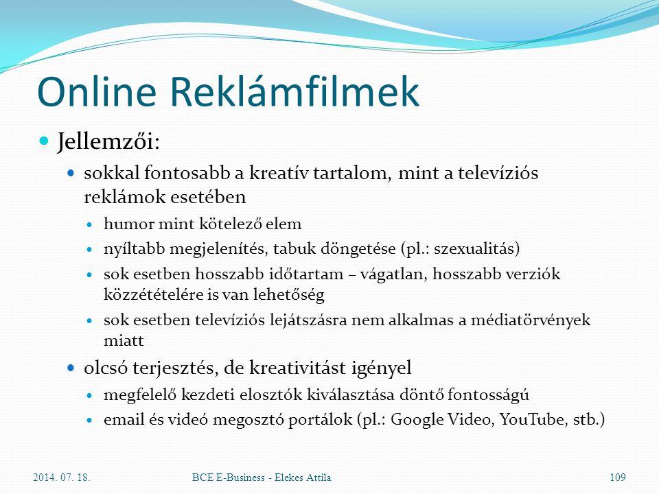 Online Reklámfilmek Jellemzői: