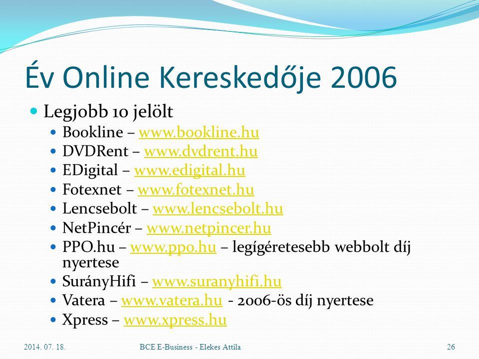 Év Online Kereskedője 2006 Legjobb 10 jelölt