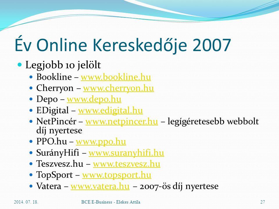 Év Online Kereskedője 2007 Legjobb 10 jelölt