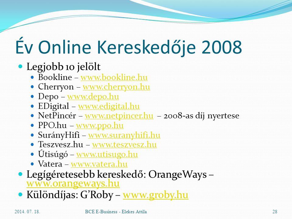 Év Online Kereskedője 2008 Legjobb 10 jelölt