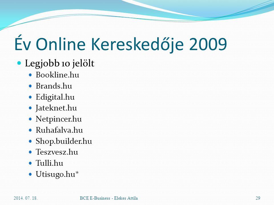 Év Online Kereskedője 2009 Legjobb 10 jelölt Bookline.hu Brands.hu