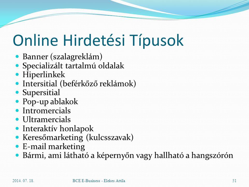 Online Hirdetési Típusok