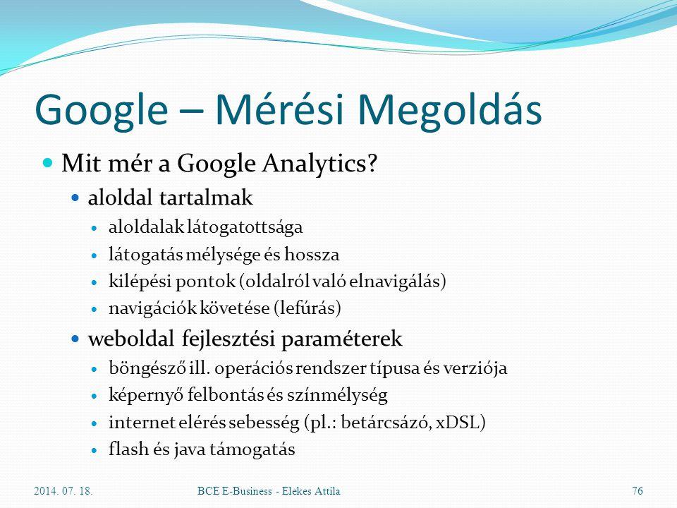 Google – Mérési Megoldás