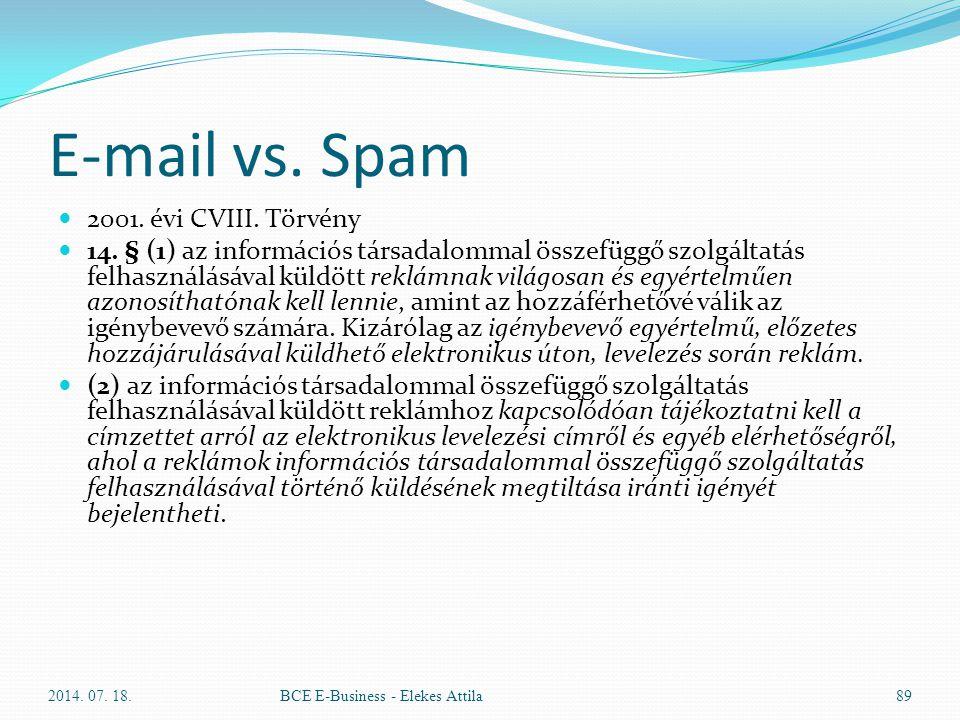 E-mail vs. Spam 2001. évi CVIII. Törvény