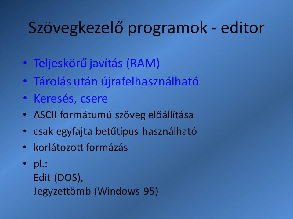 Szövegkezelő programok - editor