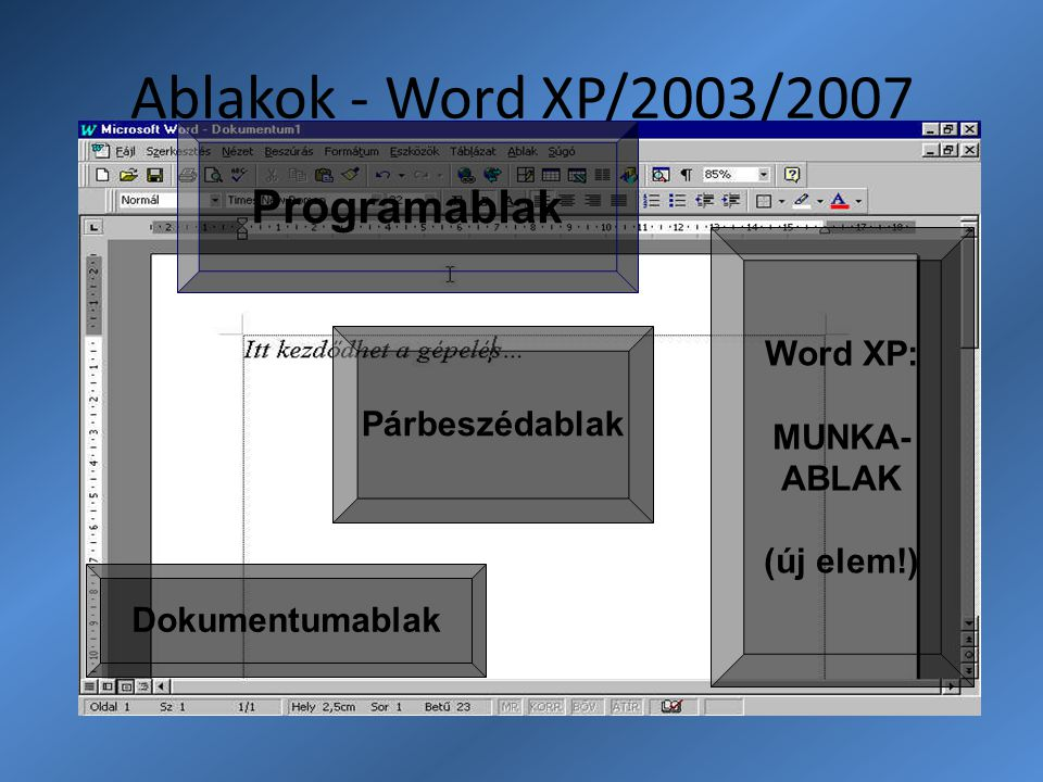 Ablakok - Word XP/2003/2007 Programablak Word XP: MUNKA- ABLAK
