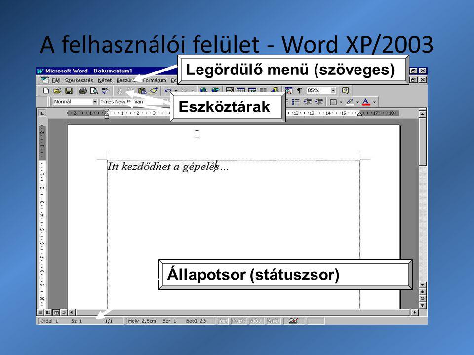 A felhasználói felület - Word XP/2003