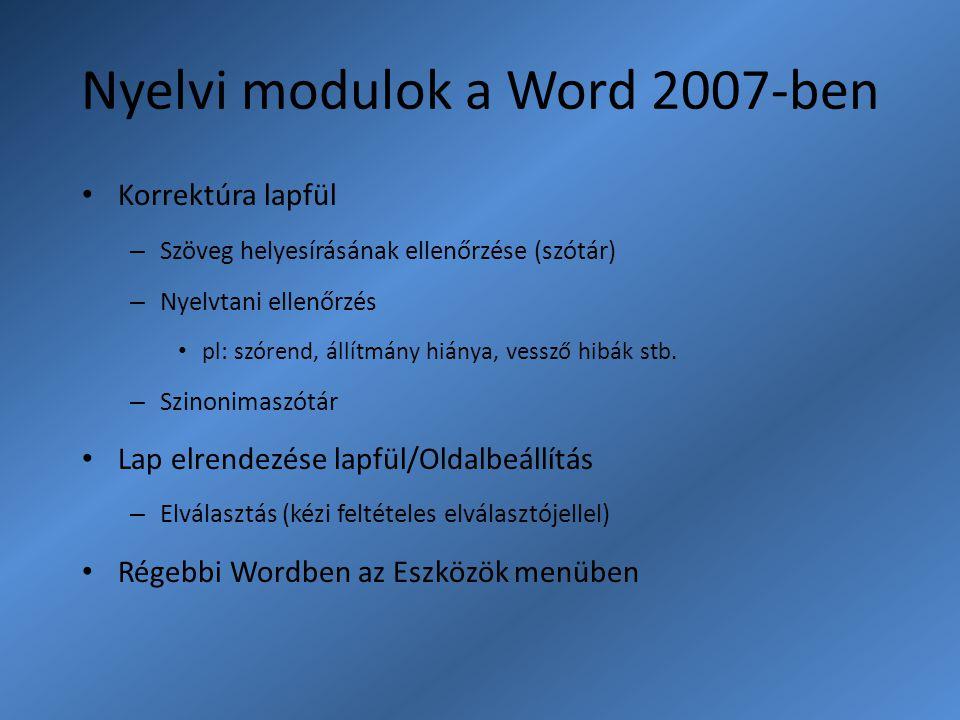 Nyelvi modulok a Word 2007-ben