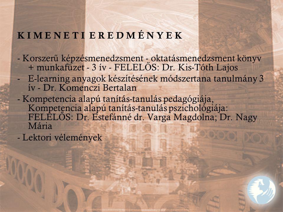 K I M E N E T I E R E D M É N Y E K - Korszerű képzésmenedzsment - oktatásmenedzsment könyv + munkafüzet - 3 ív - FELELŐS: Dr. Kis-Tóth Lajos.