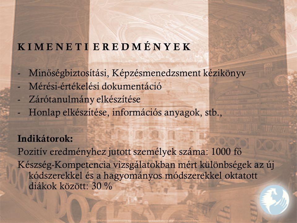 K I M E N E T I E R E D M É N Y E K Minőségbiztosítási, Képzésmenedzsment kézikönyv. Mérési-értékelési dokumentáció.