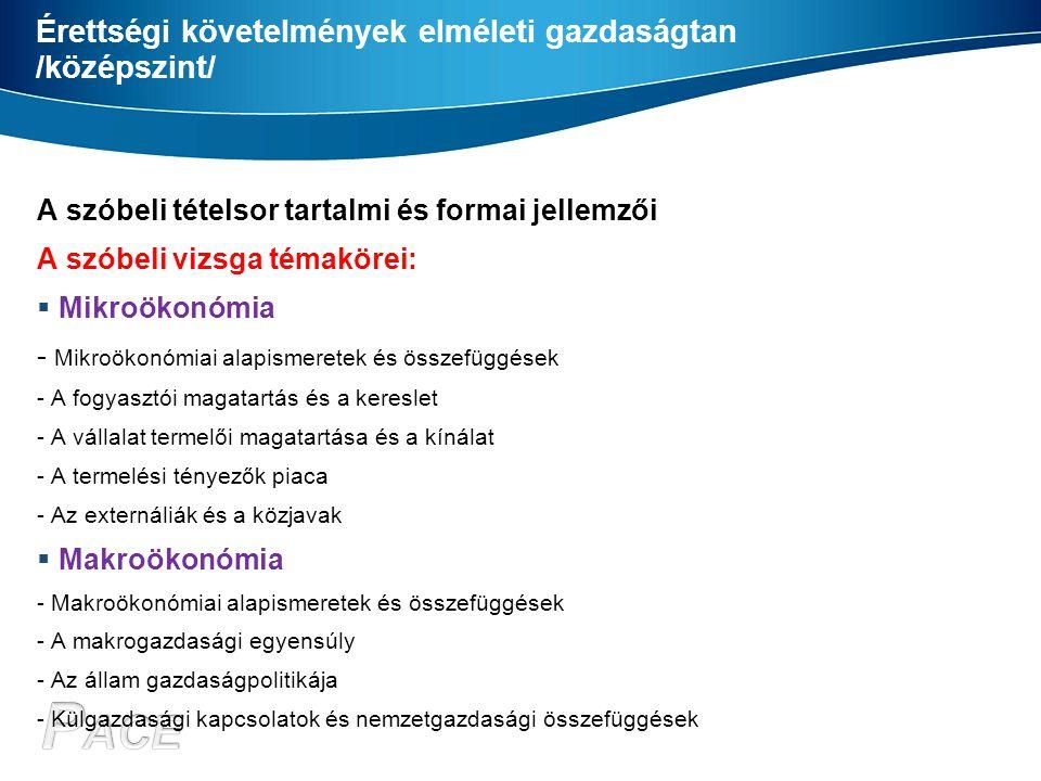 Érettségi követelmények elméleti gazdaságtan /középszint/