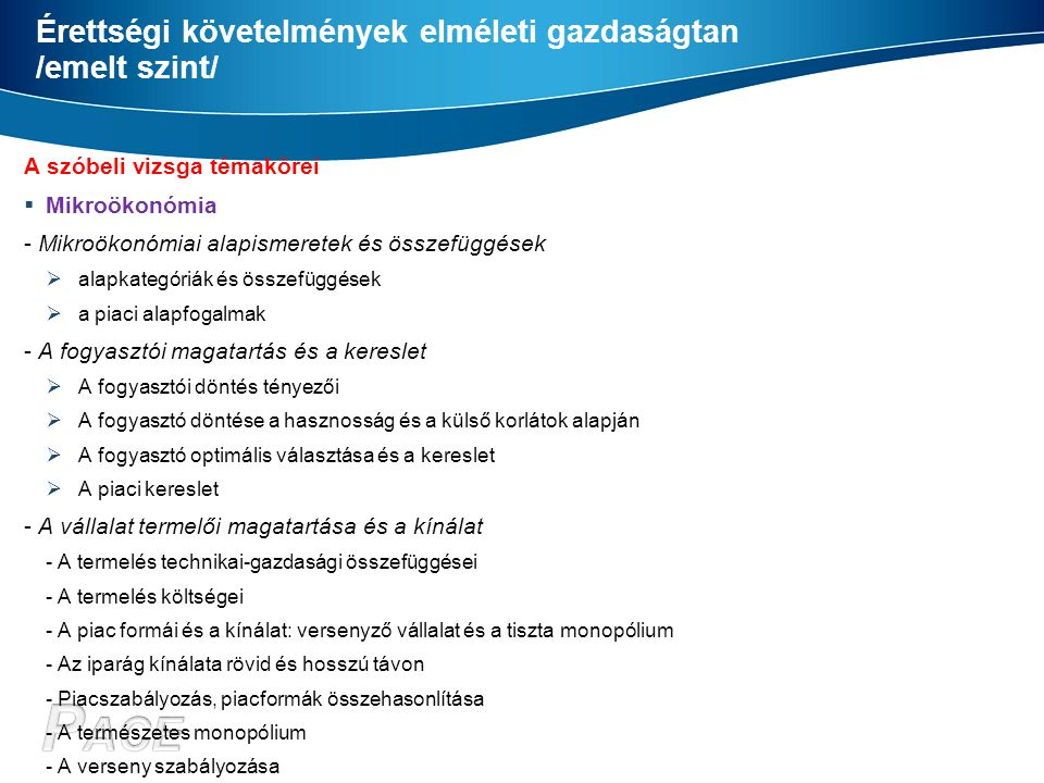 Érettségi követelmények elméleti gazdaságtan /emelt szint/