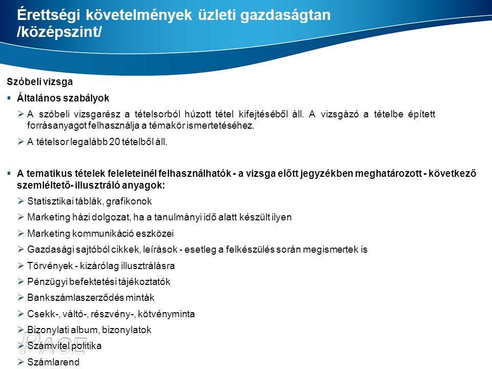 Érettségi követelmények üzleti gazdaságtan /középszint/