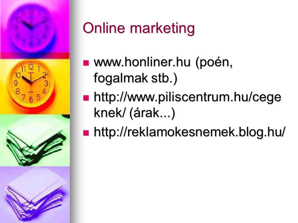 Online marketing www.honliner.hu (poén, fogalmak stb.)