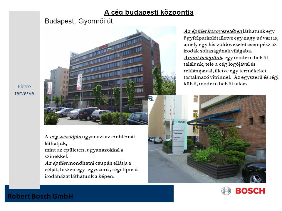 Robert Bosch GmbH A cég budapesti központja Budapest, Gyömrői út