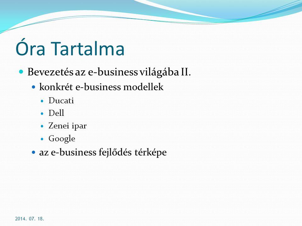 Óra Tartalma Bevezetés az e-business világába II.