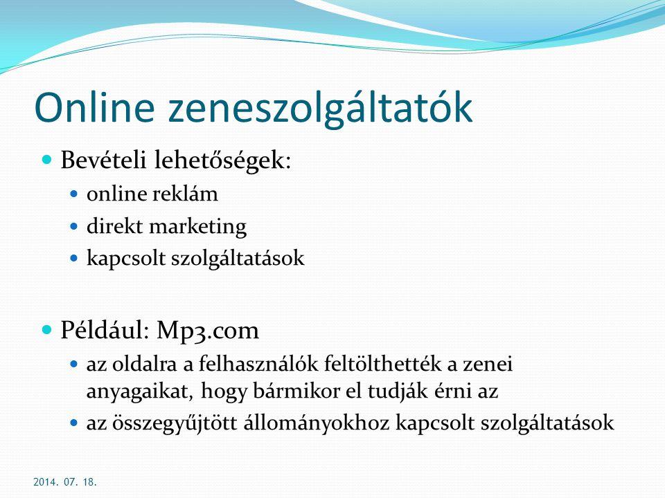 Online zeneszolgáltatók
