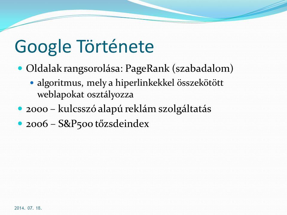 Google Története Oldalak rangsorolása: PageRank (szabadalom)