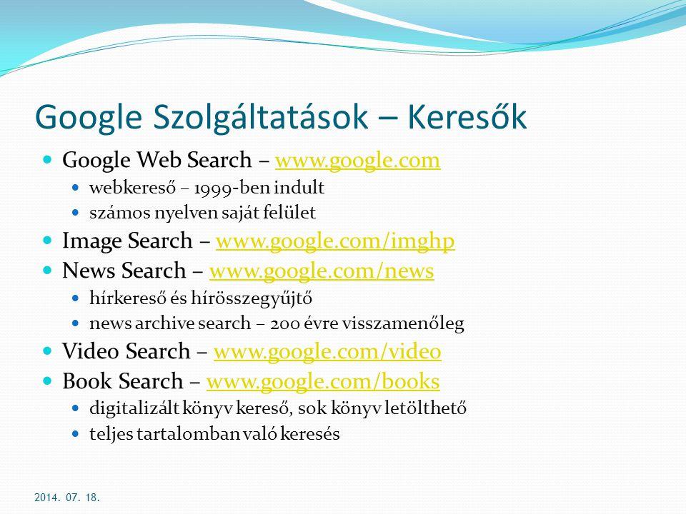 Google Szolgáltatások – Keresők