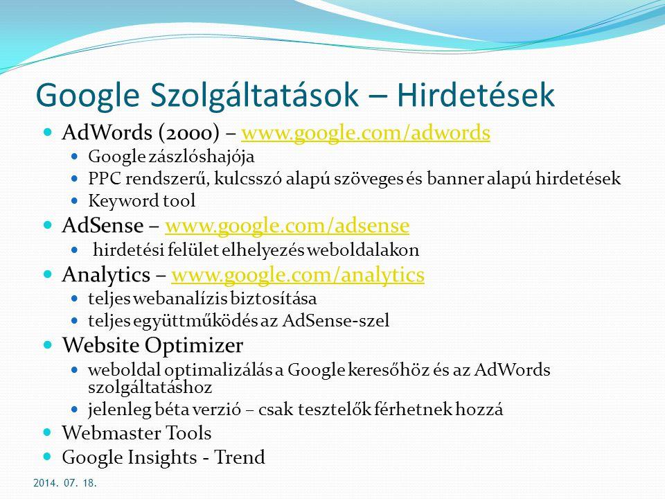 Google Szolgáltatások – Hirdetések