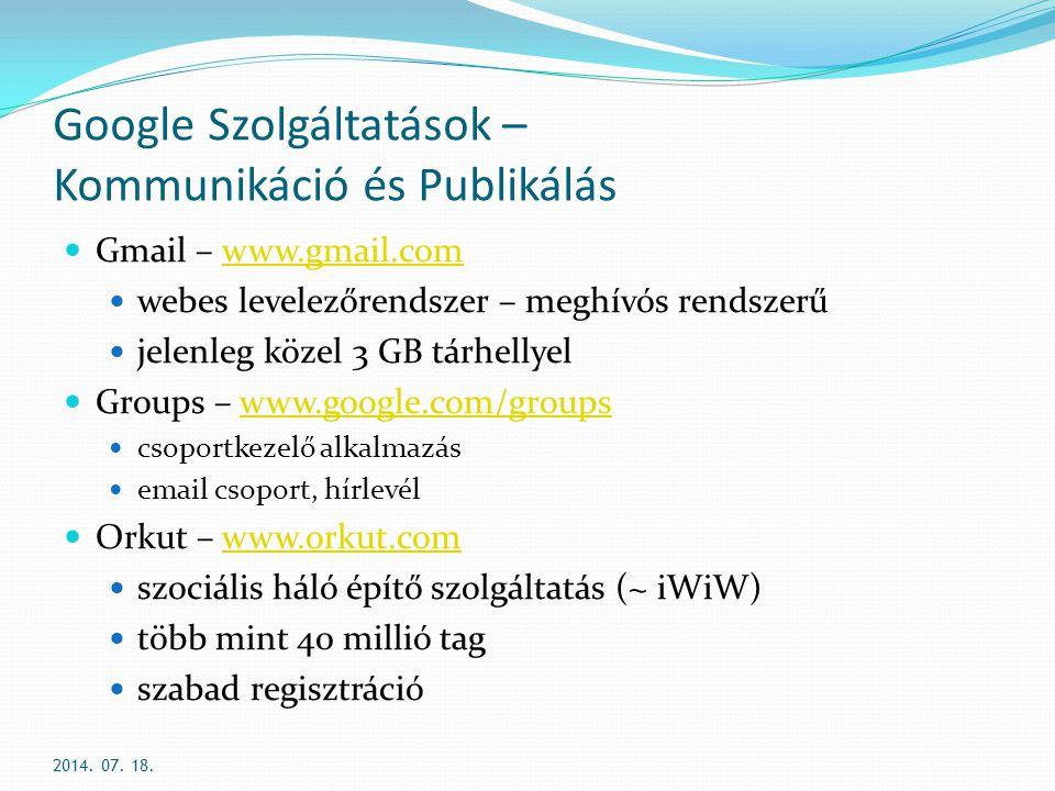 Google Szolgáltatások – Kommunikáció és Publikálás
