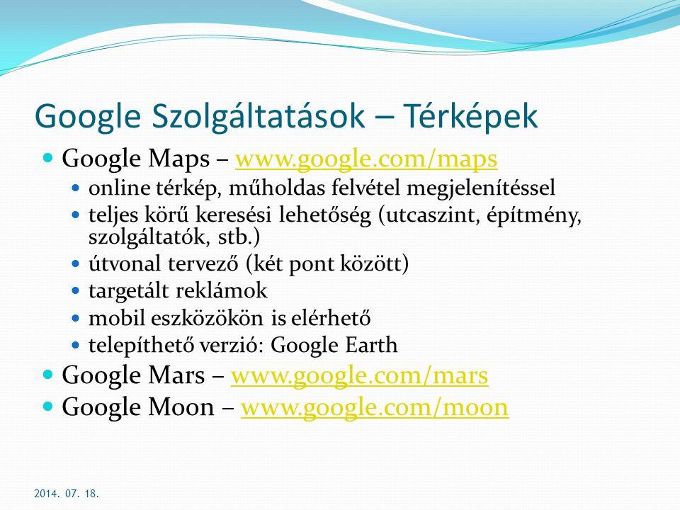 Google Szolgáltatások – Térképek