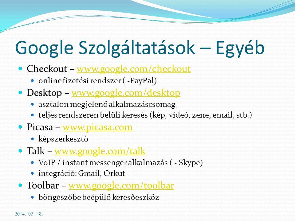 Google Szolgáltatások – Egyéb
