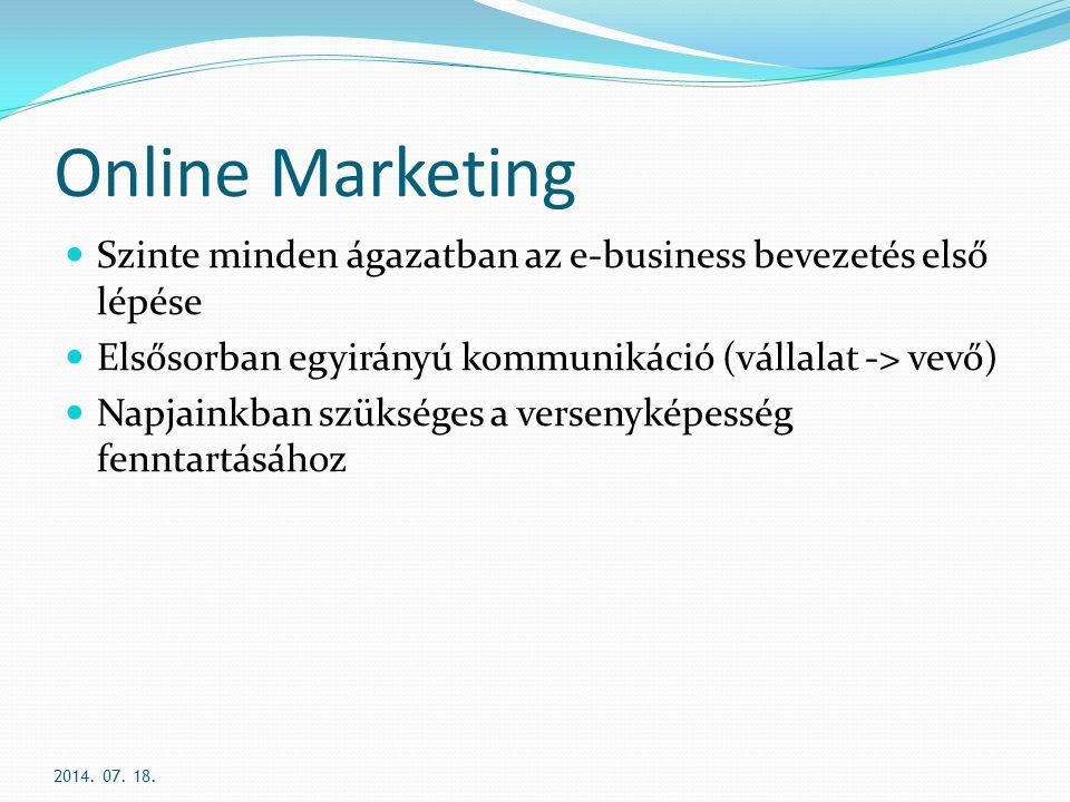 Online Marketing Szinte minden ágazatban az e-business bevezetés első lépése. Elsősorban egyirányú kommunikáció (vállalat -> vevő)