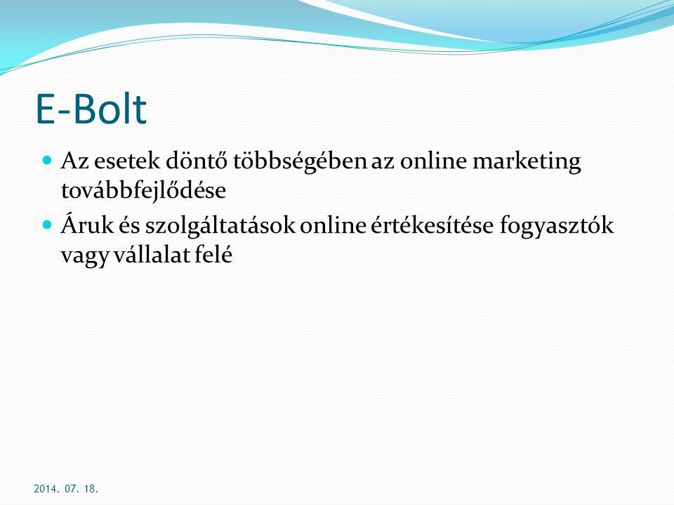 E-Bolt Az esetek döntő többségében az online marketing továbbfejlődése