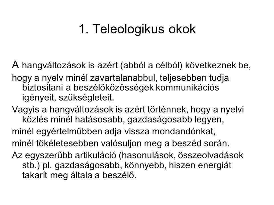 1. Teleologikus okok A hangváltozások is azért (abból a célból) következnek be,