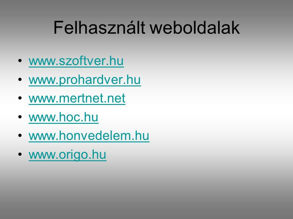 Felhasznált weboldalak