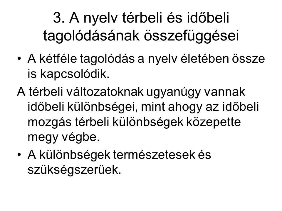3. A nyelv térbeli és időbeli tagolódásának összefüggései