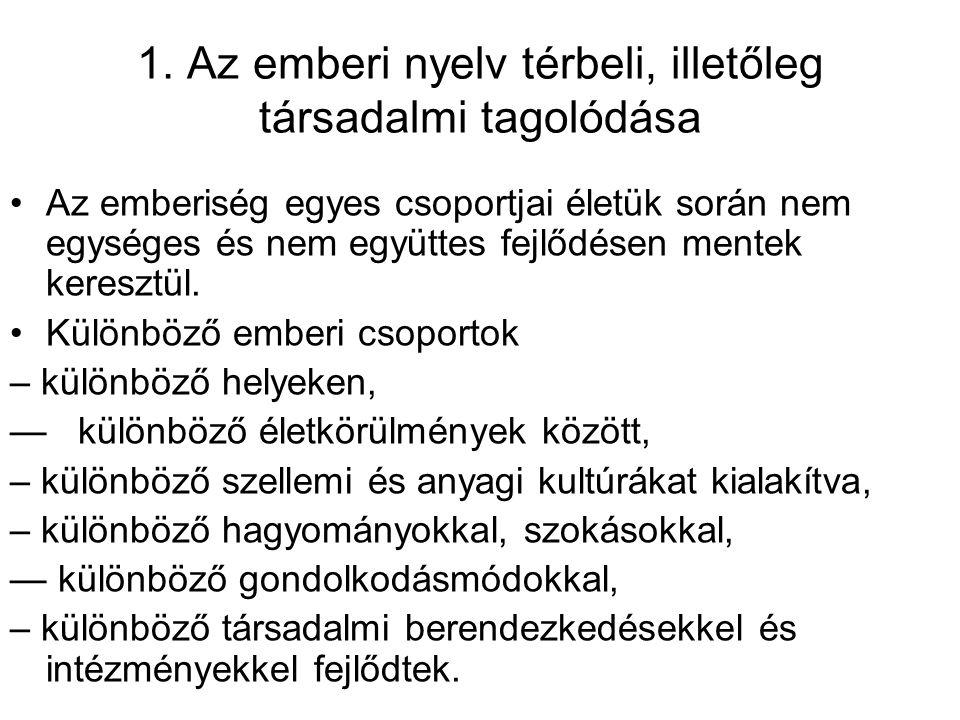 1. Az emberi nyelv térbeli, illetőleg társadalmi tagolódása