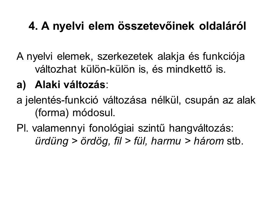4. A nyelvi elem összetevőinek oldaláról