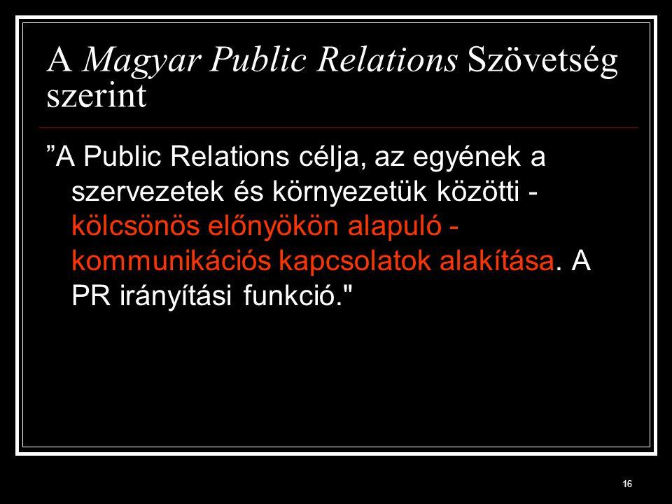 A Magyar Public Relations Szövetség szerint