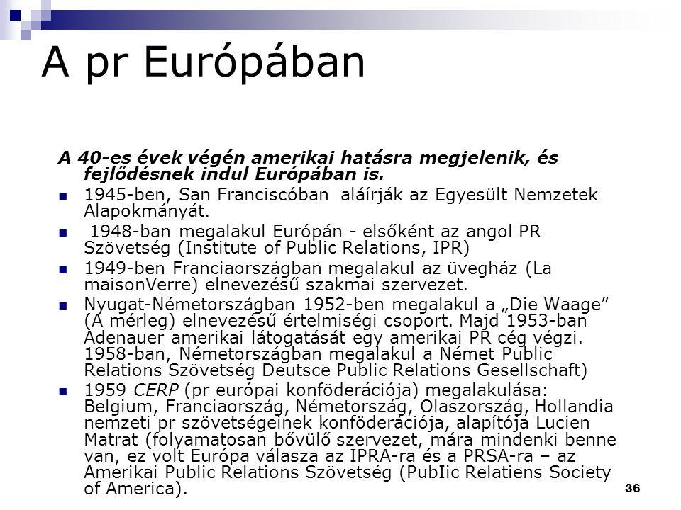 A pr Európában A 40-es évek végén amerikai hatásra megjelenik, és fejlődésnek indul Európában is.