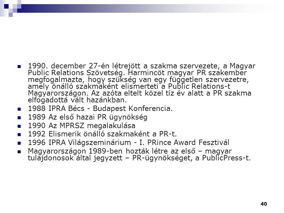 1990. december 27-én létrejött a szakma szervezete, a Magyar Public Relations Szövetség. Harmincöt magyar PR szakember megfogalmazta, hogy szükség van egy független szervezetre, amely önálló szakmaként elismerteti a Public Relations-t Magyarországon. Az azóta eltelt közel tíz év alatt a PR szakma elfogadottá vált hazánkban.
