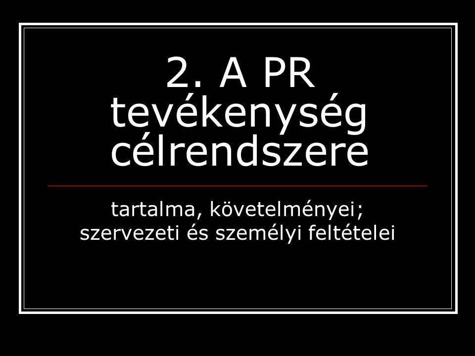 2. A PR tevékenység célrendszere