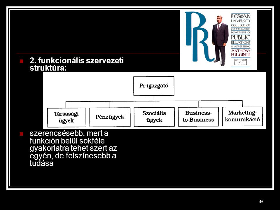 2. funkcionális szervezeti struktúra: