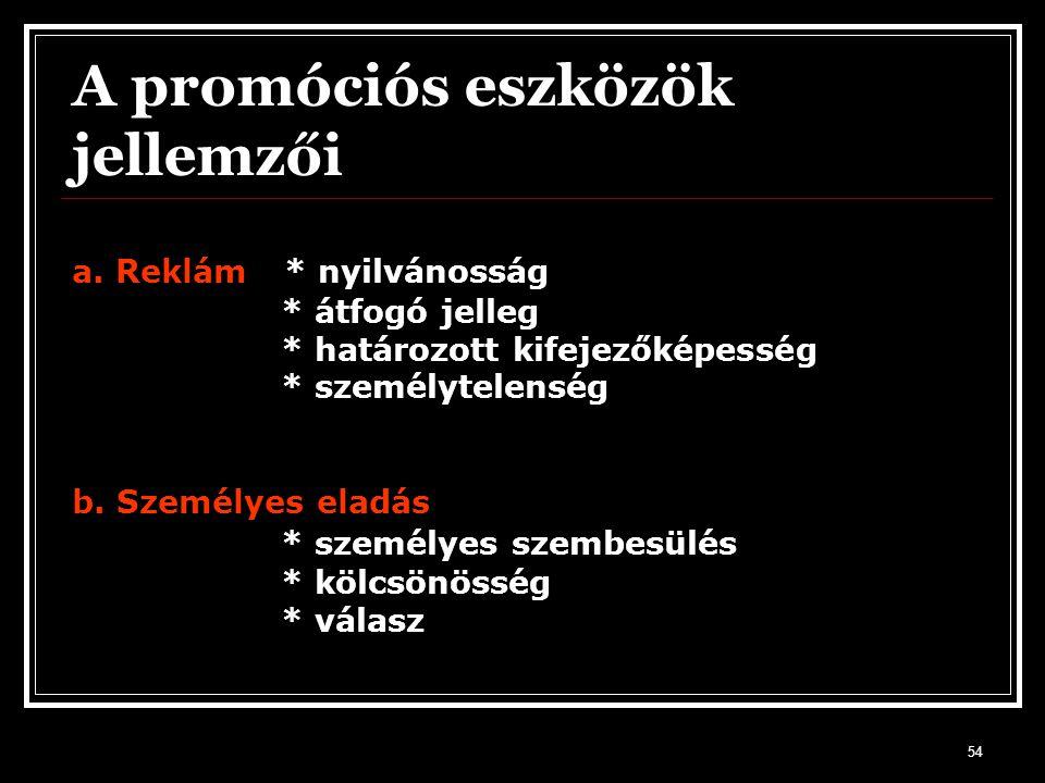 A promóciós eszközök jellemzői