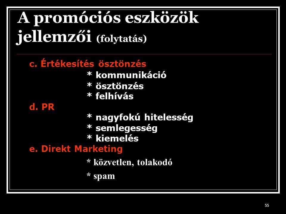 A promóciós eszközök jellemzői (folytatás)